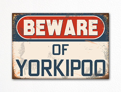 Beware of Yorkipoo Dog Breed Cute Fridge Magnet
