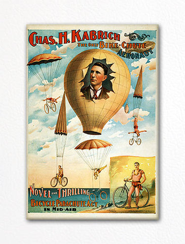 Bicycle Parachute Act Advertising Poster Fridge Magnet