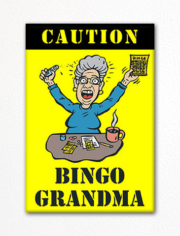 Caution Bingo Grandma Fridge Magnet