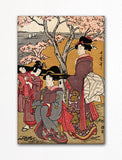 Cherry Viewing at Gotenyama Woodblock Print Fridge Magnet
