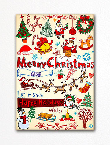 Cute Christmas Doodles Adorable Fridge Magnet