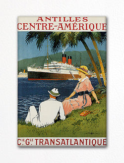 Cie Gle Transatlantique Vintage Travel Poster Fridge Magnet