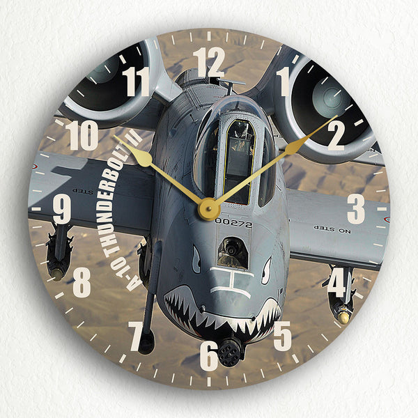 "A-10 Thunderbolt II ""Head On"" 12"" Silent Wall Clock"