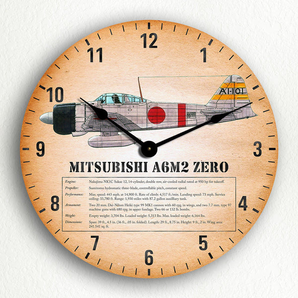 "Mitsubishi A6M Zero WWII Fighter Aircraft 12"" Silent Wall Clock"