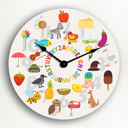 "Alphabet with Cute Illustrated Animals and Objects 12"" Silent Wall Clock"