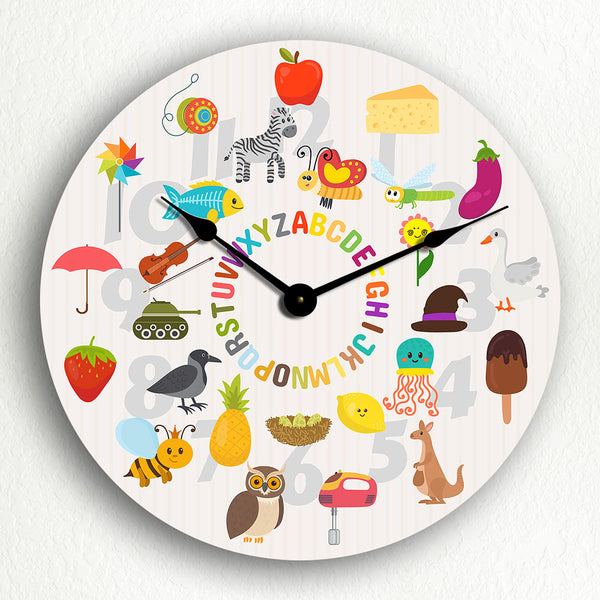 Alphabet with Cute Illustrated Animals and Objects Silent Wall Clock