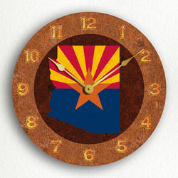 "Arizona State Flag Traditional Western Style 12"" Silent Wall Clock"