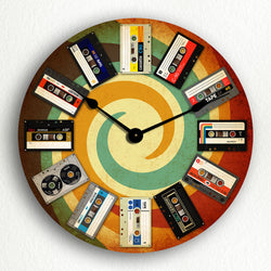 "Illustrated Cassette Tapes Groovy Retro Themed 12"" Silent Wall Clock"