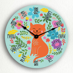 "Cat Activities Adorable 12"" Wall Clock"