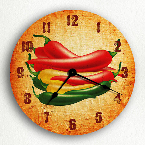 "Southwestern Chili Peppers 12"" Silent Wall Clock"