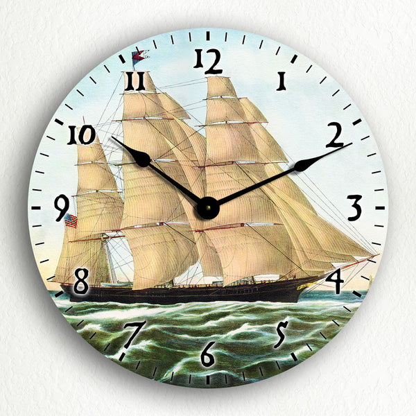 "Clipper Ship Flying Cloud Currier & Ives Artwork 12"" Silent Wall Clock"