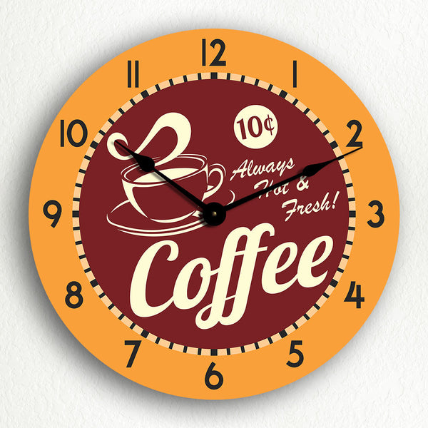 "Coffee Hot & Fresh Retro Style 12"" Silent Wall Clock"