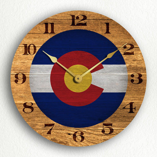 "Colorado State Flag Traditional Western Style 12"" Silent Wall Clock"