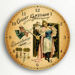 "Corset Elastique Vintage Advertisement 12"" Silent Wall Clock"