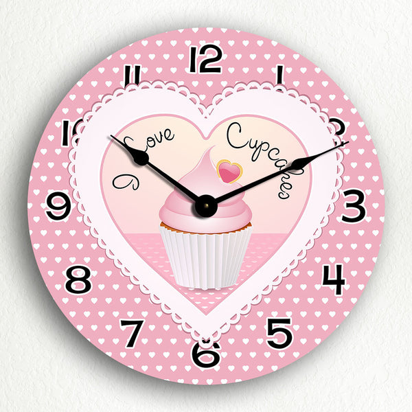 "I Love Cupcakes Cute Kitchen 12"" Silent Wall Clock"
