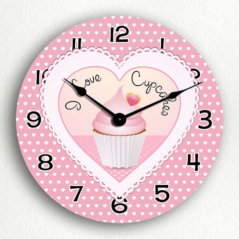I Love Cupcakes Cute Kitchen Silent Wall Clock