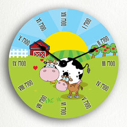 "Cute Cows on the Farm 12"" Silent Wall Clock"