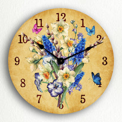 "Daffodil Flower Bouquet Beautiful Classic Artwork 12"" Silent Wall Clock"