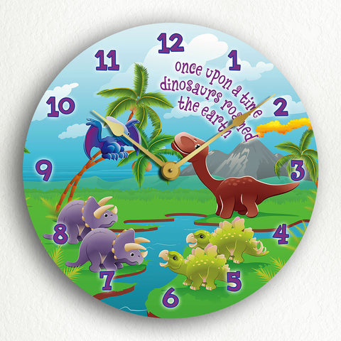 "Cute Illustrated Dinosaurs 12"" Silent Wall Clock"