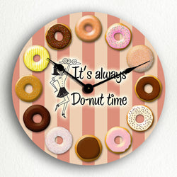 "It's Always Donut Time Retro Theme 12"" Silent Wall Clock"