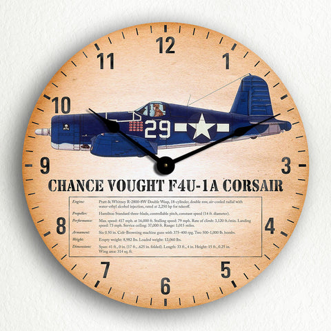 "Chance Vought F4U Corsair WWII Fighter Aircraft 12"" Silent Wall Clock"