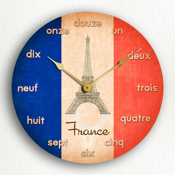 "Flag of France French Flag 12"" Silent Wall Clock"