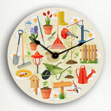 "Gardening Themed Flowers and Garden Objects 12"" Silent Wall Clock"