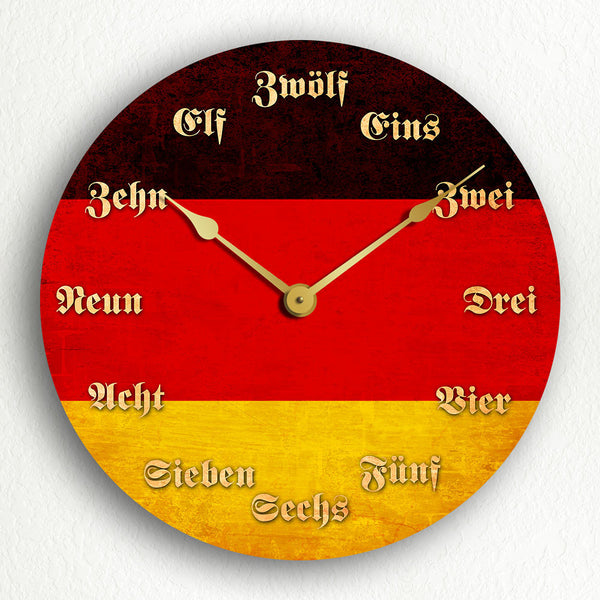 "Flag of Germany German Flag 12"" Silent Wall Clock"