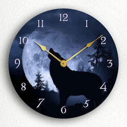 "Gray Wolf Howling at the Moon in a Nighttime Forest 12"" Silent Wall Clock"