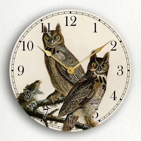 "Great Horned Owl John James Audubon 12"" Silent Wall Clock"