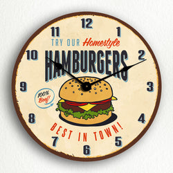 "Try Our Hamburgers Retro Vintage Sign Style 12"" Silent Wall Clock"