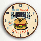 Try Our Hamburgers Retro Vintage Sign Style Silent Wall Clock
