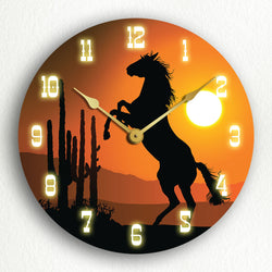 "Horse at Sunset Western Themed 12"" Silent Wall Clock"