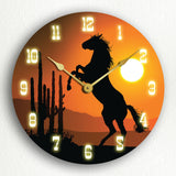 Horse at Sunset Western Themed Silent Wall Clock