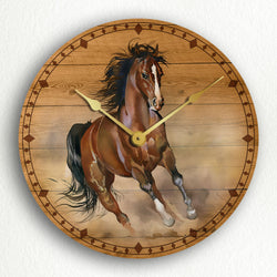 "Horse Running in the Wild Beautiful Rustic Artwork 12"" Silent Wall Clock"