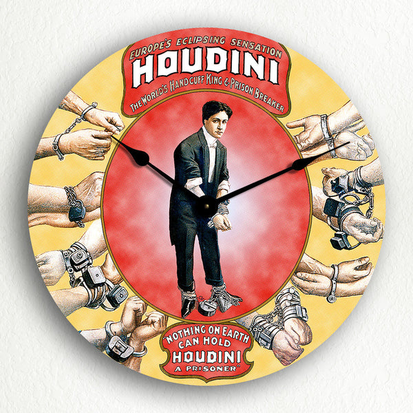 Houdini Handcuff King Poster Artwork Silent Wall Clock