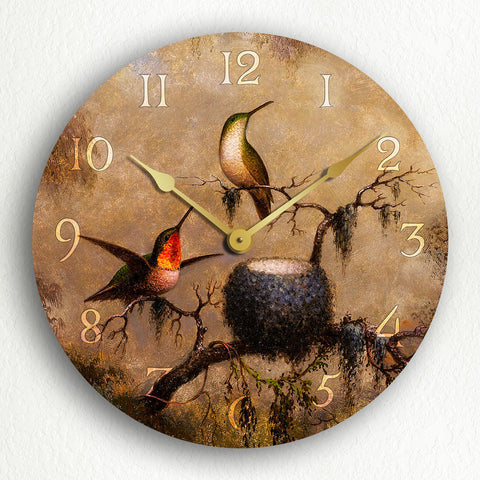 "Hummingbirds and Their Nest 12"" Silent Wall Clock"