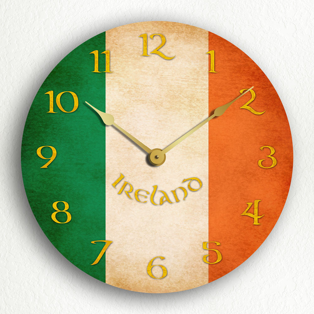 Flag Of Ireland Irish Flag Silent Wall Clock Classical