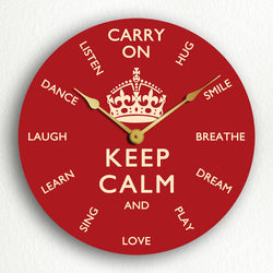 "Keep Calm and Carry On Inspirational Themes 12"" Silent Wall Clock"