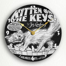 "Kitten on the Keys Sheet Music Cover Artwork 12"" Silent Wall Clock"
