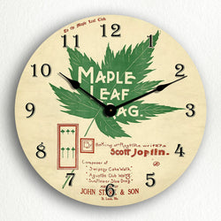 "Maple Leaf Rag Sheet Music Cover Artwork 12"" Silent Wall Clock"