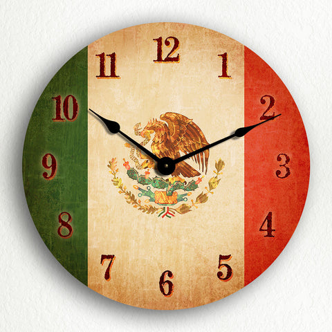 "Flag of Mexico Mexican Flag 12"" Silent Wall Clock"