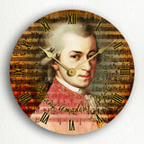 Wolfgang Amadeus Mozart Classic Music Collage Artwork Silent Wall Clock