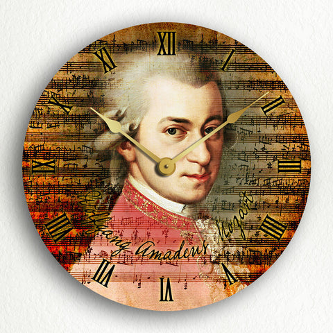 "Wolfgang Amadeus Mozart Classic Music Collage Artwork 12"" Silent Wall Clock"