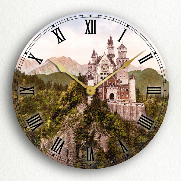 "Neuschwanstein Castle Vintage Photograph 12"" Silent Wall Clock"