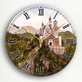 Neuschwanstein Castle Vintage Photograph Silent Wall Clock