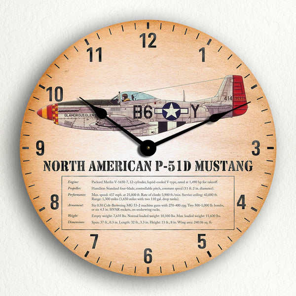 "North American P-51D Mustang WWII Fighter Aircraft 12"" Silent Wall Clock"