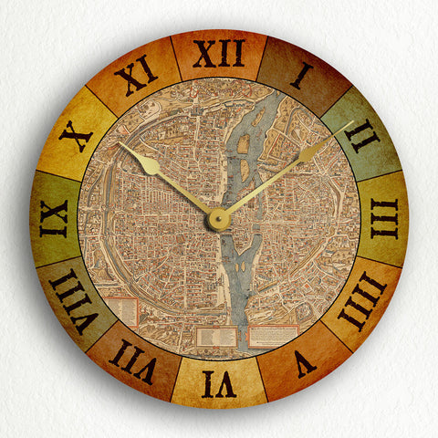 "Paris France Map Circa 1550 Beautiful Vintage Style 12"" Silent Wall Clock"