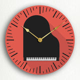 "Piano Modern Icon Style Music Room Themed 12"" Silent Wall Clock"