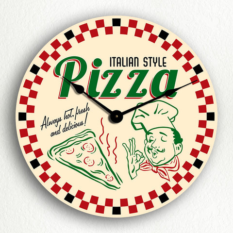 Pizza Classic Retro Box Art Silent Wall Clock